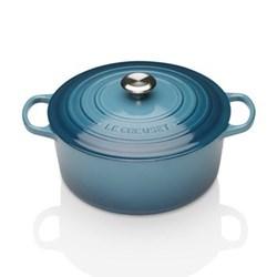 Signature Cast Iron Round casserole, 24 x 10cm - 4.2 litre, marine