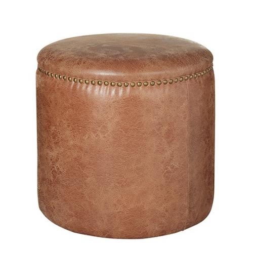 Costellini Ottoman, D47 x H45cm, Aged Tobacco Leather
