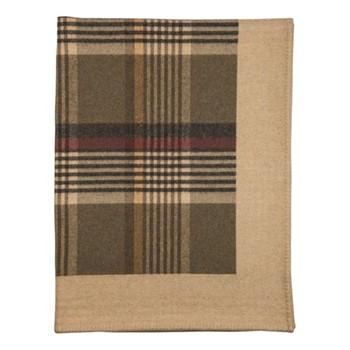Glen Blanket Stitched Lambswool woven throw, 170 x 135cm, olivine