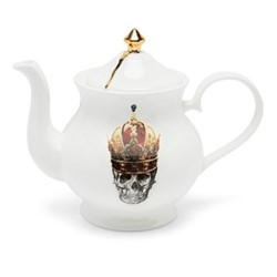 Skull in Red Crown Teapot large, 18 x W22 x D10cm, crisp white/burnished gold details