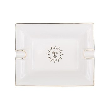 Sun Trinket tray, L20 x W16 x H3.6cm, white and gold