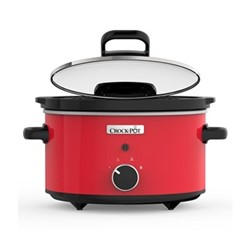 Hinged lid slow cooker, 3.5L, red/stoneware