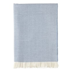 Herringbone Merino woven throw, 190 x 140cm, cornflower & white