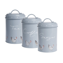 Chicken Set of 3 storage tins, 11 x 15cm, Galvanised Steel