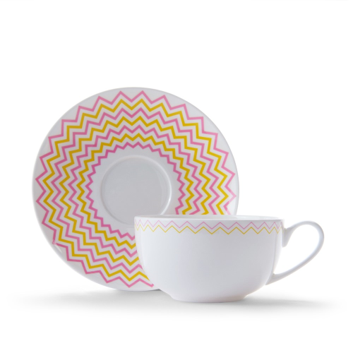 Wave Cappuccino cup and saucer, Pink/Yellow