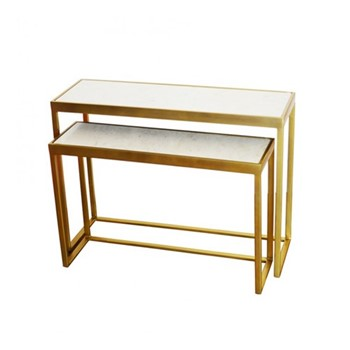 Pair of console tables, white marble