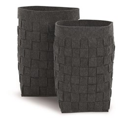 Made Essentials Bask Pair of laundry baskets, H50 x W42 x D42cm, charcoal