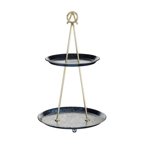 2 tier cake stand, H43 x D26cm, blue