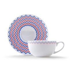 Wave Cappuccino cup and saucer, H7.5 x D11cm, red/blue