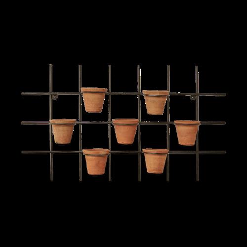 Jara Wall hung planter, 49 x 86 x 14cm, Terracotta & Iron