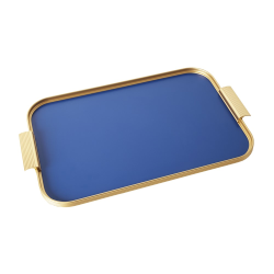 Ribbed serving tray, L46 x W30cm, Cobalt