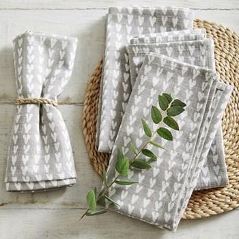 Set of 4 heart print napkins, W45 x L45cm, grey