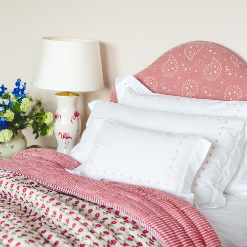 Daisy King/super king size quilt cover, 265 x 265cm, Pink Cotton