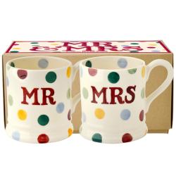 Polka Dot - Mr & Mrs Pair of mugs, 1/2 pint