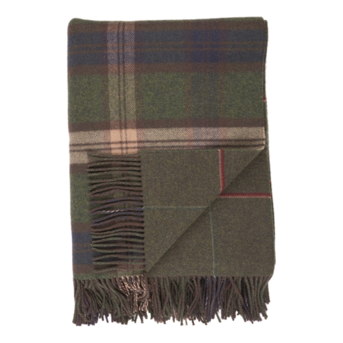 Checked Lambswool throw, 190 x 140cm, Green/Blue