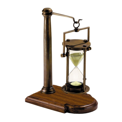 Bronzed Hourglass with stand, H25.5 x W13 x L18.5cm, Black/Bronze Indian Rosewood