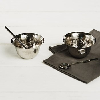 Pair of condiment pots with spoons 8.5 x 5cm