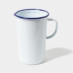 Medium jug, 2 pint, white with blue rim