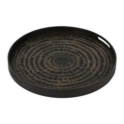 Beads Small driftwood tray, D48 x H4cm, black