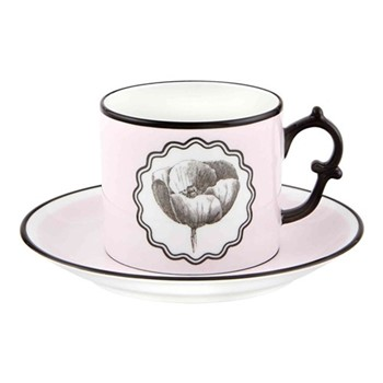 Herbariae Teacup and saucer, 15 x 7.5cm, pink