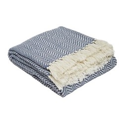 Herringbone Throw, L230 x W130cm, navy