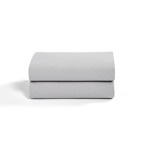 Set of 2 crib fitted sheets, W35 x L80cm, Grey