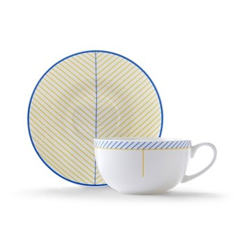 Ebb Cappuccino cup and saucer, H7.5 x D11cm, yellow/blue
