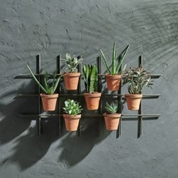 Jara Wall hung planter, 49 x 86 x 14cm, terracotta & iron