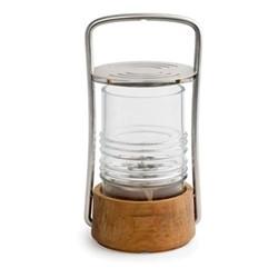 Bollard Oil lamp, Dia12.5 x H24.5cm, teak/stainless steel