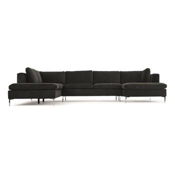 Monterosso Left hand facing corner sofa, H80 x W351 x D230cm, midnight grey velvet