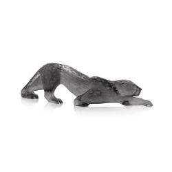 Zeila Panther figure, H11 x L36.5cm, Grey