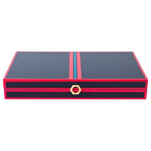Lacquer Backgammon set, H11 x W47 x L28cm, Red/Navy
