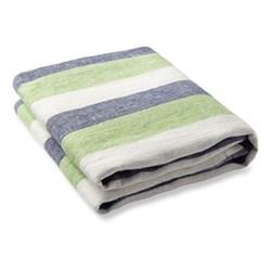 Stripe Linen beach towel, navy, coconut green and white