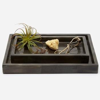 Arles Pair of trays, dark faux horn