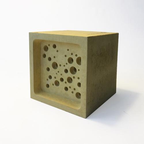 Bee Block Large bee house, 10.5 x 10.5 x 10.5cm, Yellow