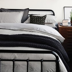 Ticking Stripe King size duvet cover, L220 x W230cm, charcoal and linen