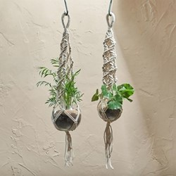 Basua Large hanging planter, Dia104 x 16cm, clear hammered glass