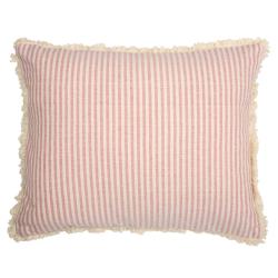 Thickweave/Fringe Cushion, striped, 45 x 35cm, rose/ivory