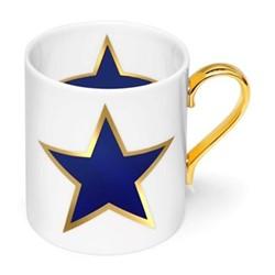 Lucky Stars Mug, W7.5 x H9cm, crisp white & cobalt blue/burnished gold details