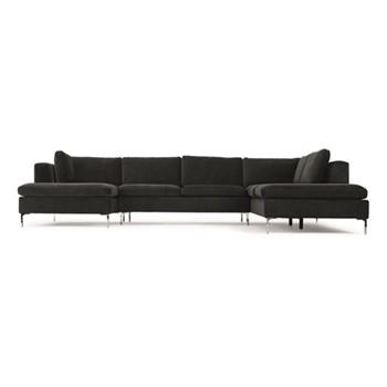 Monterosso Right hand facing corner sofa, H80 x W351 x D230cm, midnight grey velvet