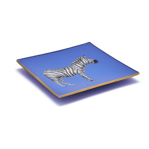 Safari Pair of square decoupage trays, 15cm, Cornflower Blue/Gold Edging