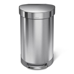 Semi round pedal bin, H67cm - 45 litre, brushed stainless steel