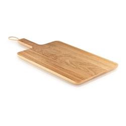Wooden cutting board, 38 x 26cm, oak/leather