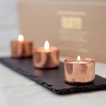 Candle trio, 30 x 10cm, copper and slate