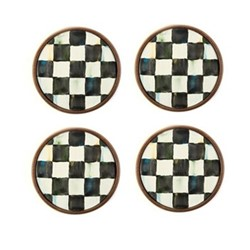 Courtly Check Set of 4 coasters, D9.52cm, black & white