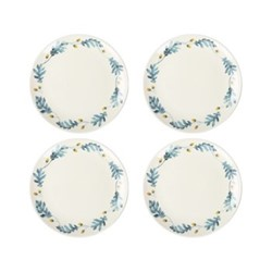 English Oak Set of 4 side plates, W20 x H2cm, teal/yellow