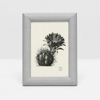 "Oxford Photograph frame, 5 x 7"", ash gray faux shagreen"