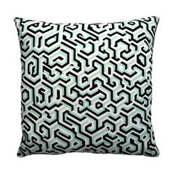 Maze Cushion, 40 x 40cm, jade/cream/black