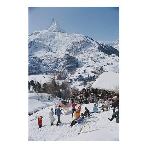 Slim Aarons - Zermatt Skiing Mounted print, H76 x W50cm, Perspex