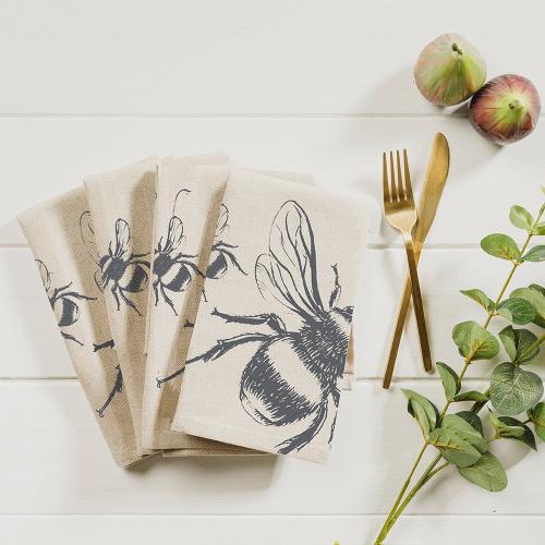Bee Set of 4 napkins, 40 x 40cm